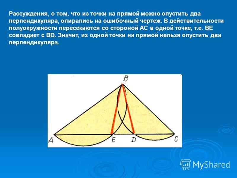 Рассуждения, о том, что из точки на прямой можно опустить два перпендикуляра, опирались на ошибочный чертеж. В действительности полуокружности пересекаются со стороной АС в одной точке, т.е. ВЕ совпадает с ВD. Значит, из одной точки на прямой нельзя