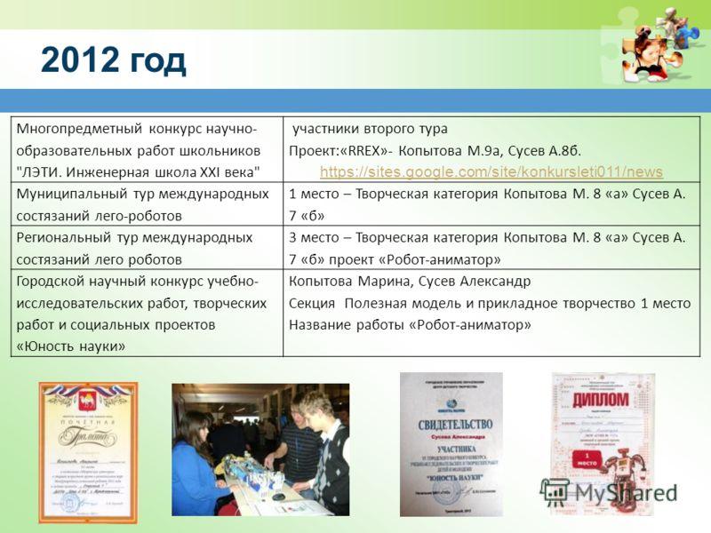 2012 год Многопредметный конкурс научно- образовательных работ школьников