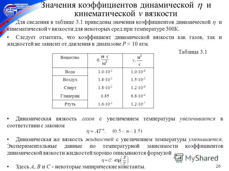 26 Динамическая вязкость газов с увеличением температуры увеличивается в соответствии с законом Динамическая же вязкость жидкостей с увеличением температуры уменьшается. Экспериментальные данные по температурной зависимости коэффициентов динамической