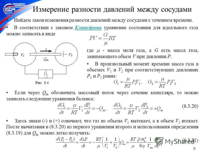 9 Если через Q m обозначить массовый поток через сечение капилляра, то можно записать следующие уравнения баланса: (8.3.20) Здесь знаки (-) и (+) означают, что газ из объема V 1 вытекает, а в объем V 2 втекает. После вычитания в (8.3.20) из первого у