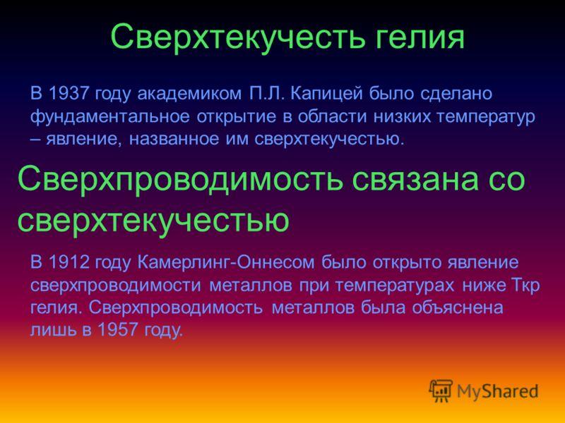 Сверхтекучесть гелия В 1937 году академиком П.Л. Капицей было сделано фундаментальное открытие в области низких температур – явление, названное им сверхтекучестью. Сверхпроводимость связана со сверхтекучестью В 1912 году Камерлинг-Оннесом было открыт
