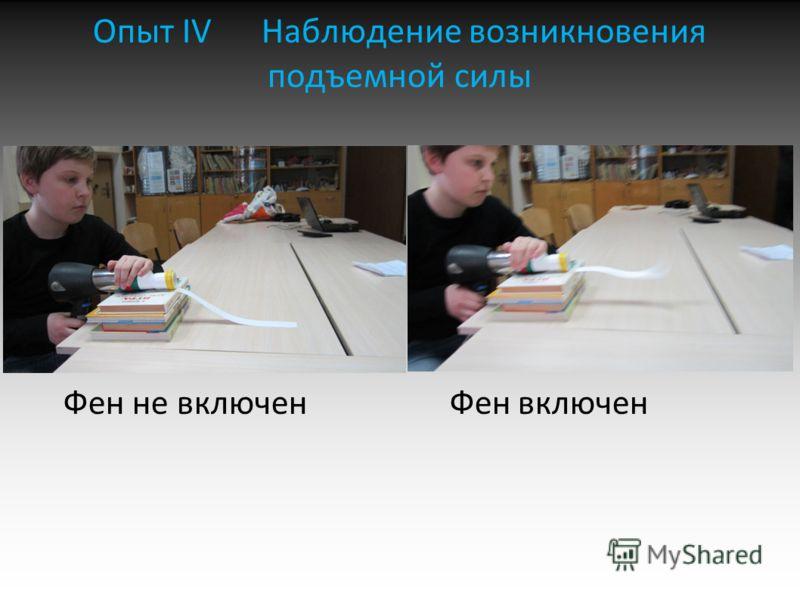 Опыт IV Наблюдение возникновения подъемной силы Фен не включен Фен включен 02.07.201302.07.201302.07.201302.07.201302.07.201302.07.201302.07.201302.07.201302.07.201302.07.2013
