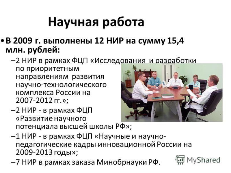 Научная работа В 2009 г. выполнены 12 НИР на сумму 15,4 млн. рублей: –2 НИР в рамках ФЦП «Исследования и разработки по приоритетным направлениям развития научно-технологического комплекса России на 2007-2012 гг.»; –2 НИР - в рамках ФЦП «Развитие науч