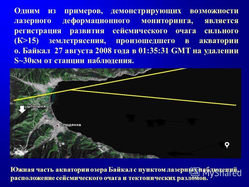 Одним из примеров, демонстрирующих возможности лазерного деформационного мониторинга, является регистрация развития сейсмического очага сильного (К>15) землетрясения, произошедшего в акватории о. Байкал 27 августа 2008 года в 01:35:31 GMT на удалении