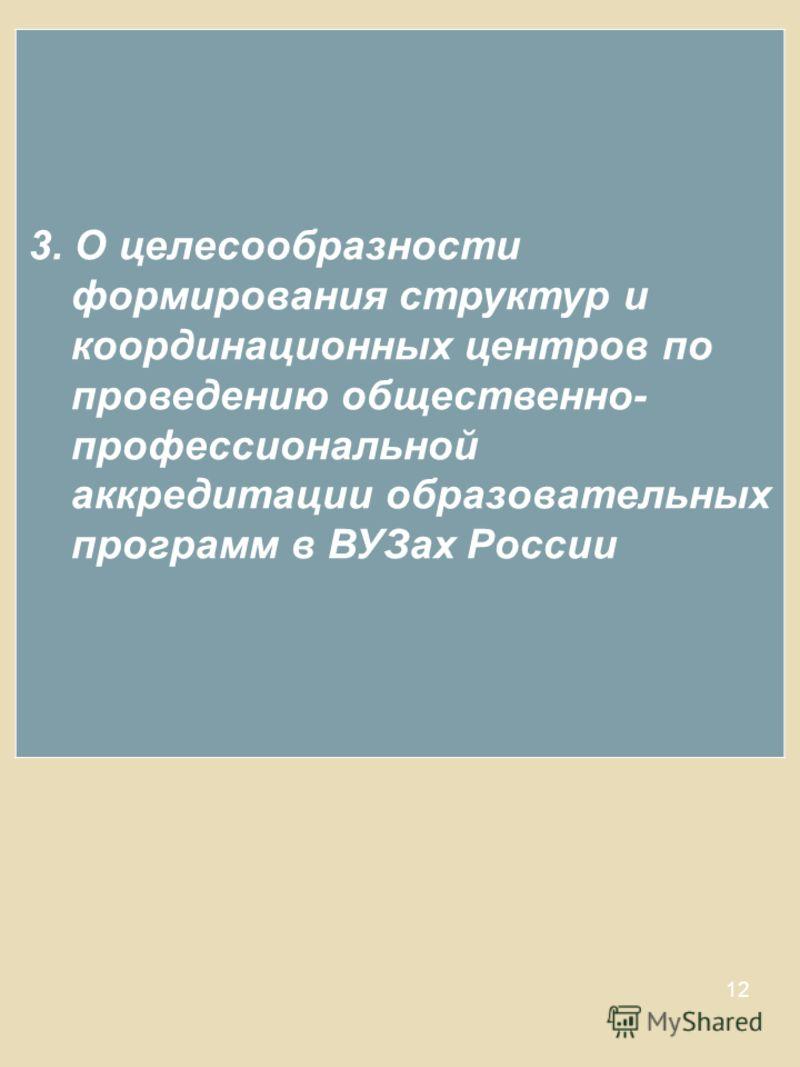 12 3. О целесообразности формирования структур и координационных центров по проведению общественно- профессиональной аккредитации образовательных программ в ВУЗах России