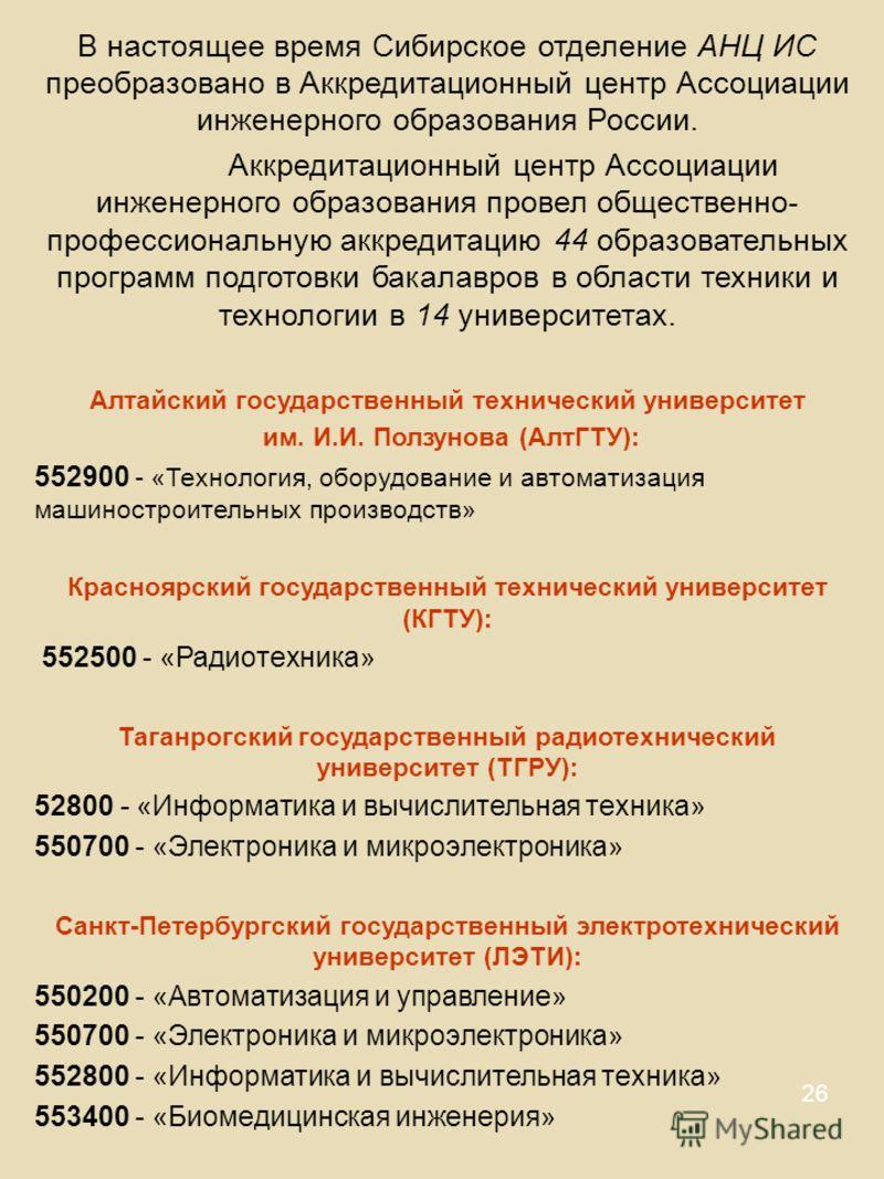 26 В настоящее время Сибирское отделение АНЦ ИС преобразовано в Аккредитационный центр Ассоциации инженерного образования России. Аккредитационный центр Ассоциации инженерного образования провел общественно- профессиональную аккредитацию 44 образоват