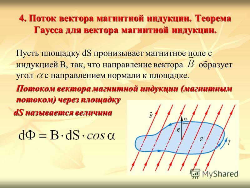 4. Поток вектора магнитной индукции. Теорема Гаусса для вектора магнитной индукции. Пусть площадку dS пронизывает магнитное поле с индукцией В, так, что направление вектора образует угол с направлением нормали к площадке. Потоком вектора магнитной ин
