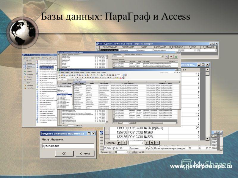 Базы данных: ПараГраф и Access www.nevarono.spb.ru