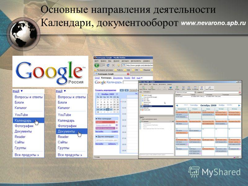 Основные направления деятельности Календари, документооборот www.nevarono.spb.ru