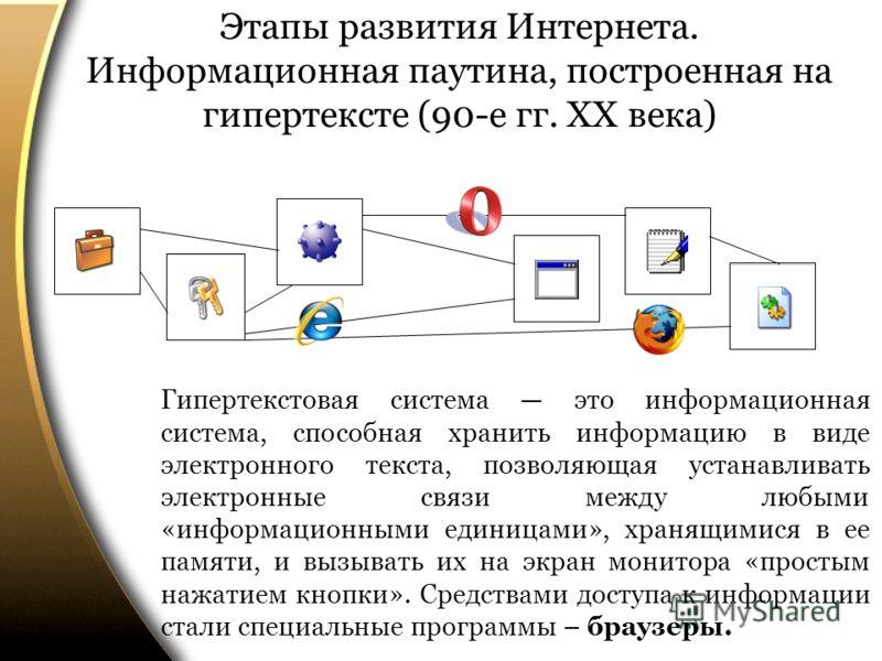 Этапы развития Интернета. Информационная паутина, построенная на гипертексте (90-е гг. ХХ века) Гипертекстовая система это информационная система, способная хранить информацию в виде электронного текста, позволяющая устанавливать электронные связи ме