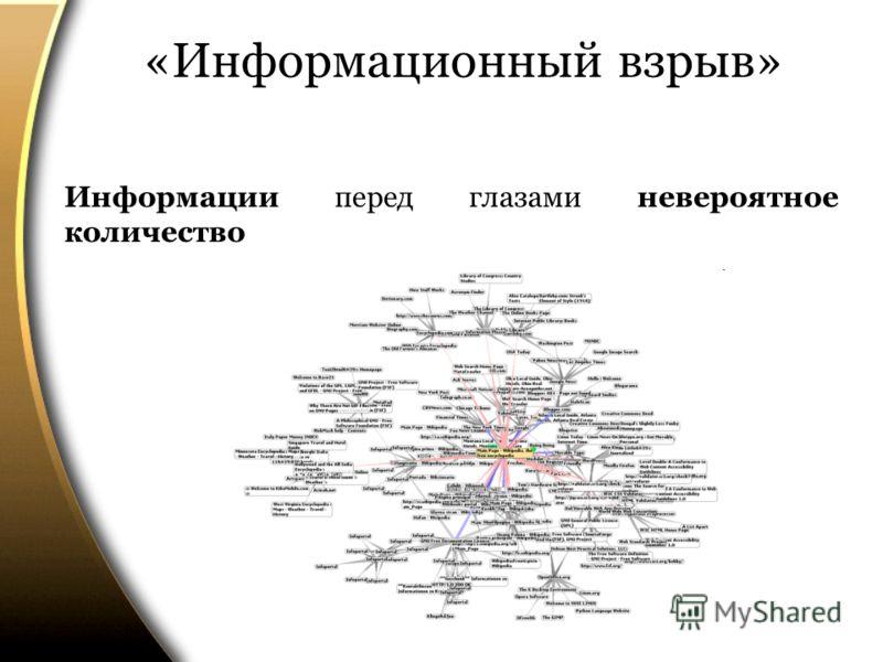 «Информационный взрыв» Информации перед глазами невероятное количество