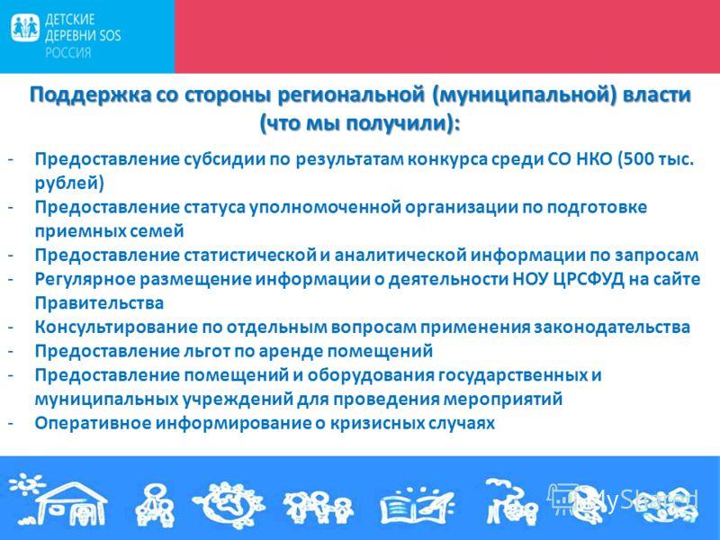 15 декабря 2011 г. Поддержка со стороны региональной (муниципальной) власти (что мы получили): -Предоставление субсидии по результатам конкурса среди СО НКО (500 тыс. рублей) -Предоставление статуса уполномоченной организации по подготовке приемных с