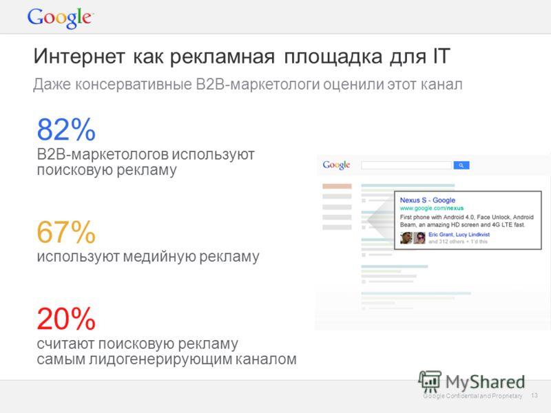 Google Confidential and Proprietary 13 Google Confidential and Proprietary 13 Интернет как рекламная площадка для IT Даже консервативные B2B-маркетологи оценили этот канал 82% B2B-маркетологов используют поисковую рекламу 67% используют медийную рекл