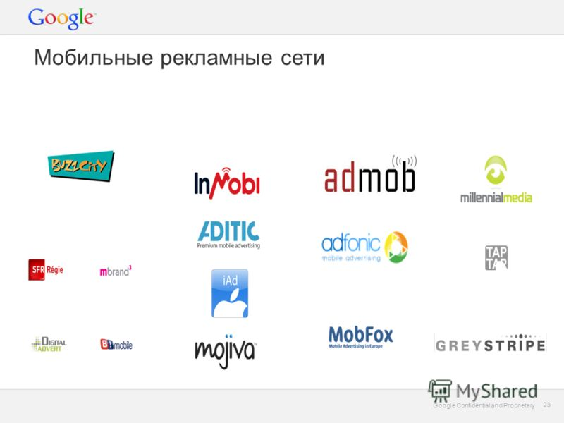 Google Confidential and Proprietary 23 Google Confidential and Proprietary 23 Мобильные рекламные сети