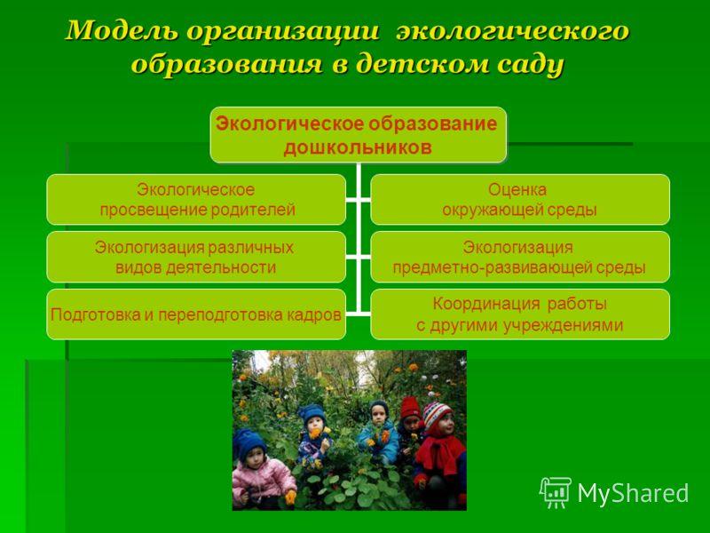 Модель организации экологического образования в детском саду Экологическое образование дошкольников Экологическое просвещение родителей Оценка окружающей среды Экологизация различных видов деятельности Экологизация предметно- развивающей среды Подгот