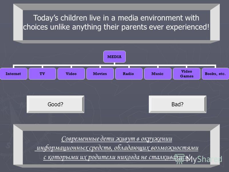 MEDIA InternetTVVideoMoviesRadioMusic Video Games Books, etc. Good?Bad? Современные дети живут в окружении информационных средств, обладающих возможностями с которыми их родители никогда не сталкивались! Todays children live in a media environment wi
