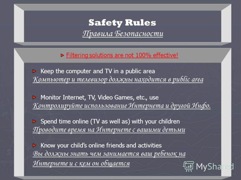Safety Rules Правила Безопасности Keep the computer and TV in a public area Компьютер и телевизор должны находится в public area Monitor Internet, TV, Video Games, etc., use Контролируйте использование Интернета и другой Инфо. Spend time online (TV a