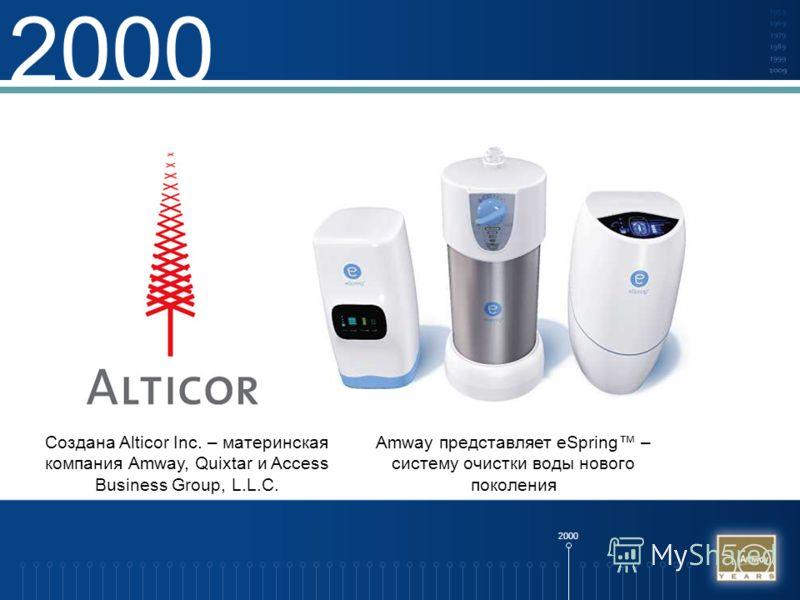 2000 Создана Alticor Inc. – материнская компания Amway, Quixtar и Access Business Group, L.L.C. Amway представляет eSpring – систему очистки воды нового поколения