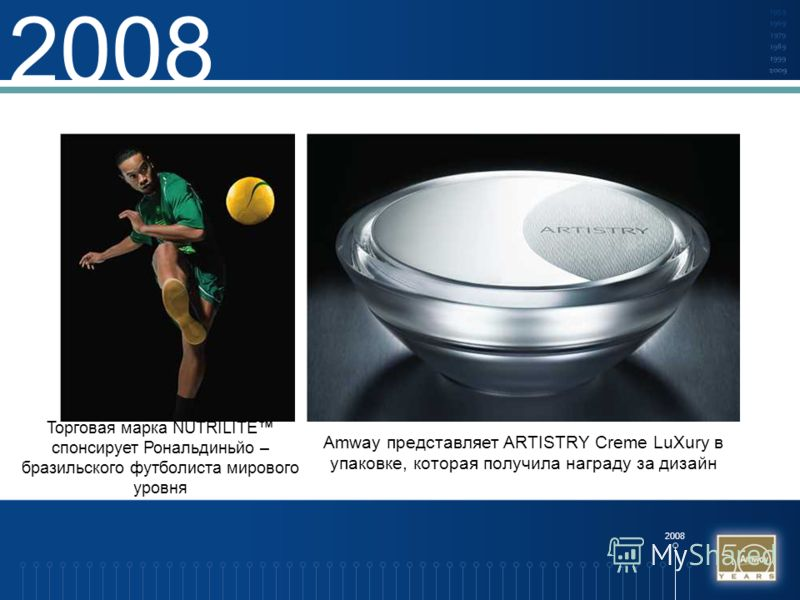 2008 Торговая марка NUTRILITE спонсирует Рональдиньйо – бразильского футболиста мирового уровня Amway представляет ARTISTRY Creme LuXury в упаковке, которая получила награду за дизайн
