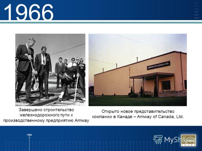 1966 Завершено строительство железнодорожного пути к производственному предприятию Amway Открыто новое представительство компании в Канаде – Amway of Canada, Ltd.