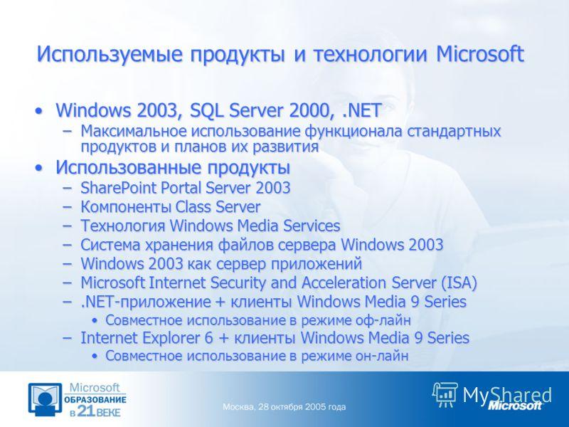Используемые продукты и технологии Microsoft Windows 2003, SQL Server 2000,.NETWindows 2003, SQL Server 2000,.NET –Максимальное использование функционала стандартных продуктов и планов их развития Использованные продуктыИспользованные продукты –Share