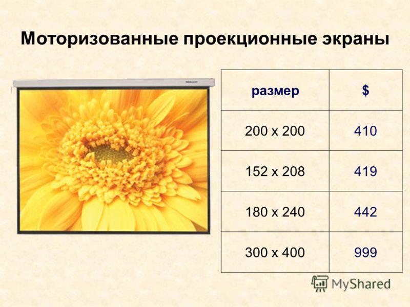 Моторизованные проекционные экраны размер$ 200 х 200410 152 х 208419 180 х 240442 300 х 400999