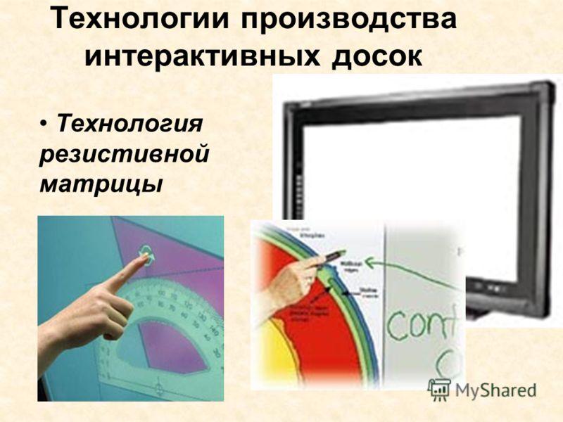 Технологии производства интерактивных досок Технология резистивной матрицы