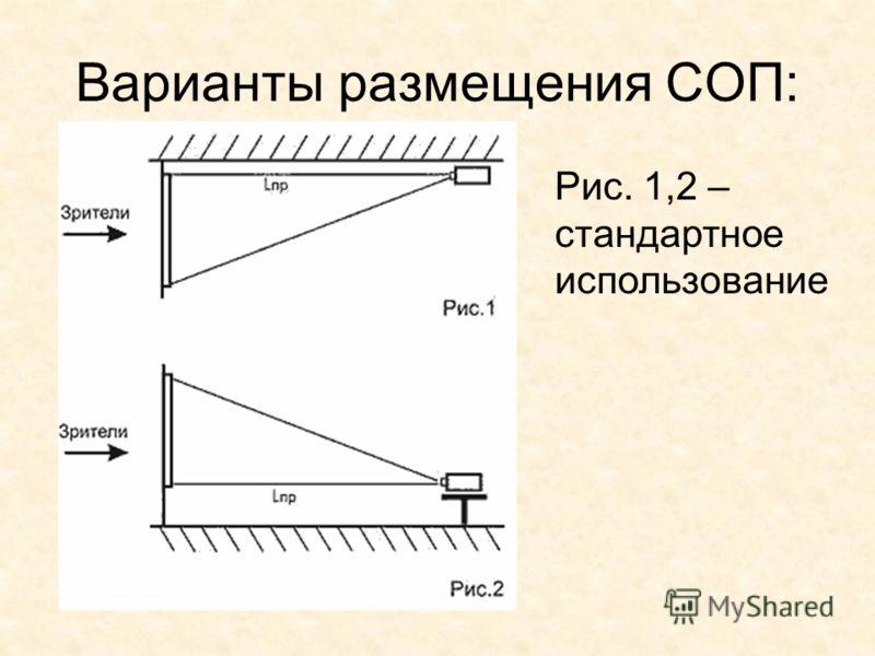 Варианты размещения СОП: Рис. 1,2 – стандартное использование