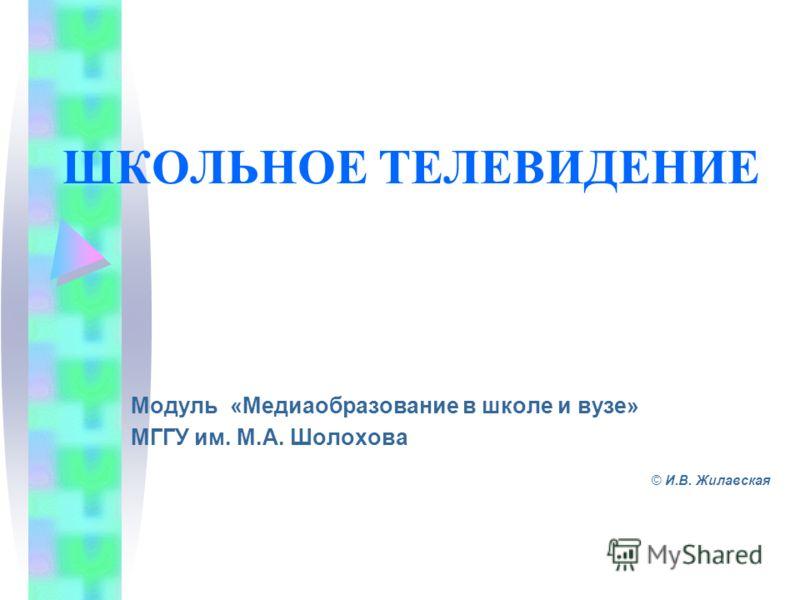 ШКОЛЬНОЕ ТЕЛЕВИДЕНИЕ Модуль «Медиаобразование в школе и вузе» МГГУ им. М.А. Шолохова © И.В. Жилавская