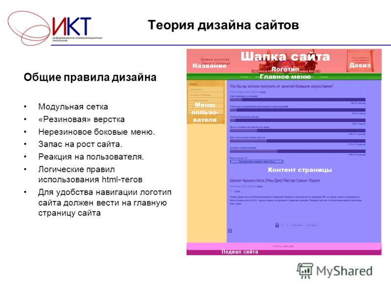 Теория дизайна сайтов Общие правила дизайна Модульная сетка «Резиновая» верстка Нерезиновое боковые меню. Запас на рост сайта. Реакция на пользователя. Логические правил использования html-тегов Для удобства навигации логотип сайта должен вести на гл