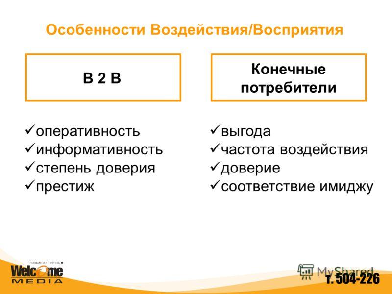 B 2 B Конечные потребители Особенности Воздействия/Восприятия оперативность информативность степень доверия престиж выгода частота воздействия доверие соответствие имиджу т. 504-226