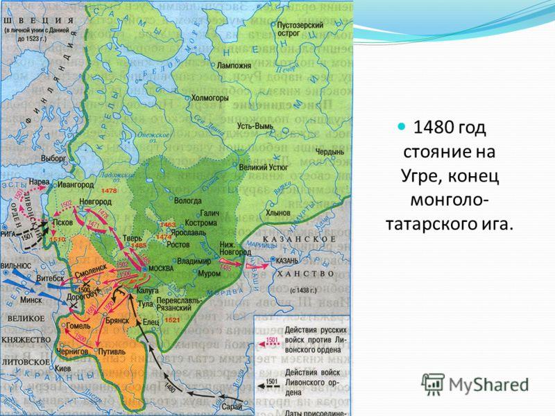 1480 год стояние на Угре, конец монголо- татарского ига.