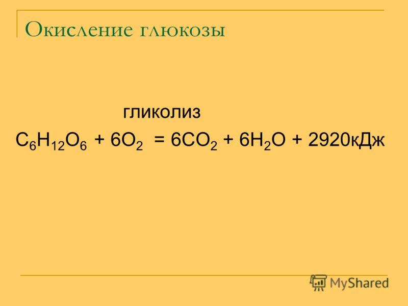 Окисление глюкозы гликолиз С 6 Н 12 О 6 + 6О 2 = 6СО 2 + 6Н 2 О + 2920кДж
