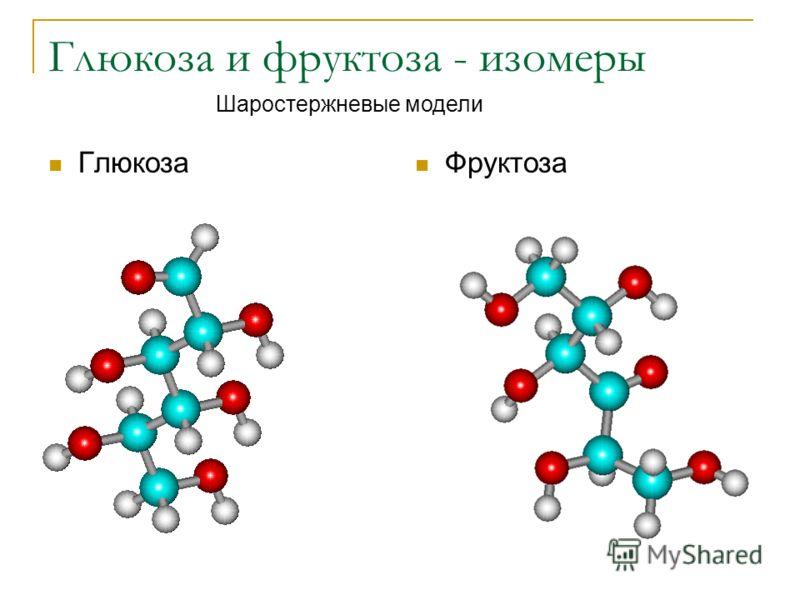 Глюкоза и фруктоза - изомеры Глюкоза Фруктоза Шаростержневые модели