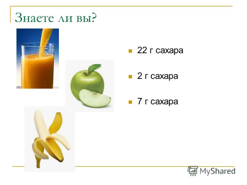 Знаете ли вы? 22 г сахара 2 г сахара 7 г сахара