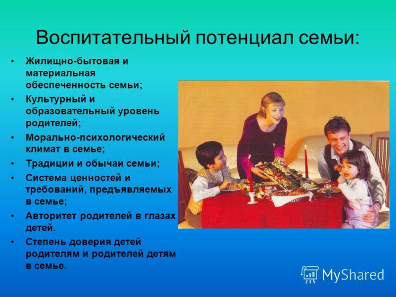 Воспитательный потенциал семьи: Жилищно-бытовая и материальная обеспеченность семьи; Культурный и образовательный уровень родителей; Морально-психологический климат в семье; Традиции и обычаи семьи; Система ценностей и требований, предъявляемых в сем