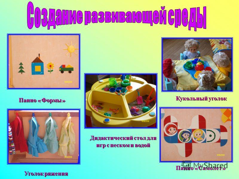 Панно « Формы » Кукольный уголок Панно « Самолет » Уголок ряжения Дидактический стол для игр с песком и водой