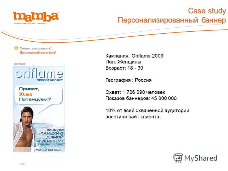 Персонализированный баннер Кампания: Oriflame 2009 Пол: Женщины Возраст: 18 - 30 География : Россия Охват: 1 726 090 человек Показов баннеров: 45 000 000 10% от всей охваченной аудитории посетили сайт клиента.