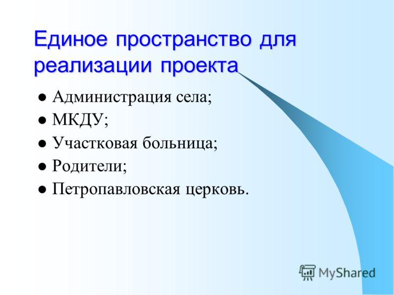 Единое пространство для реализации проекта Администрация села; МКДУ; Участковая больница; Родители; Петропавловская церковь.