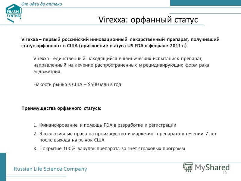 От идеи до аптеки Virexxa: орфанный статус Russian Life Science Company 10 Virexxa – первый российский инновационный лекарственный препарат, получивший статус орфанного в США (присвоение статуса US FDA в феврале 2011 г.) Virexxa - единственный находя