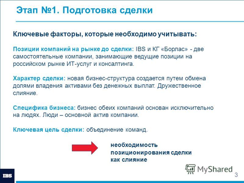 3 Этап 1. Подготовка сделки Ключевые факторы, которые необходимо учитывать: Позиции компаний на рынке до сделки: IBS и КГ «Борлас» - две самостоятельные компании, занимающие ведущие позиции на российском рынке ИТ-услуг и консалтинга. Характер сделки: