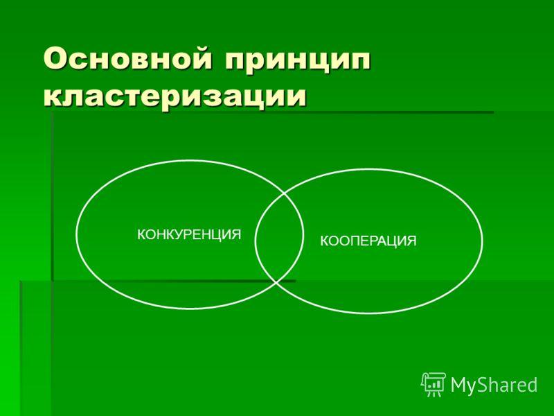 Основной принцип кластеризации КОНКУРЕНЦИЯ КООПЕРАЦИЯ
