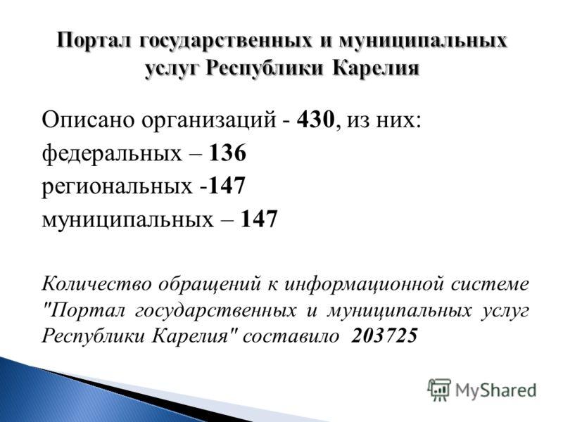 Описано организаций - 430, из них : федеральных – 136 региональных - 147 муниципальных – 147 Количество обращений к информационной системе  Портал государственных и муниципальных услуг Республики Карелия  составило 203725