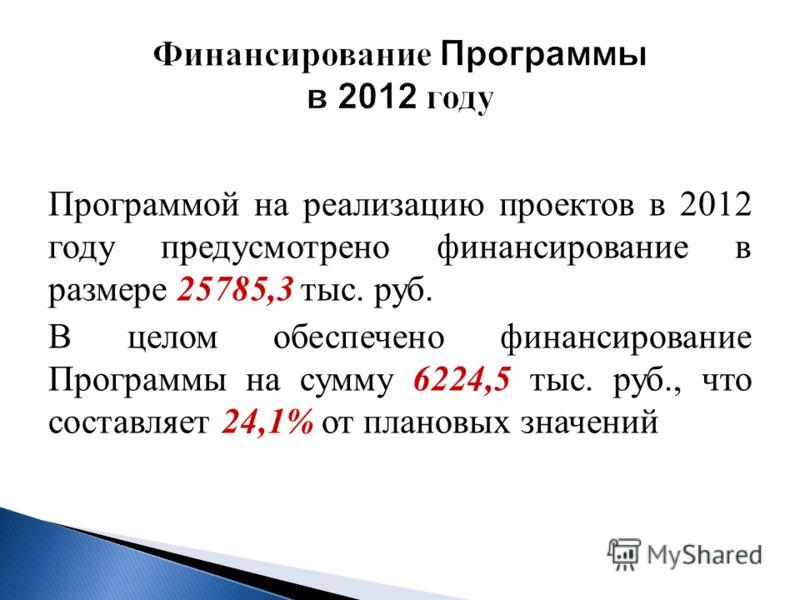 Программой на реализацию проектов в 2012 году предусмотрено финансирование в размере 25785,3 тыс. руб. В целом обеспечено финансирование Программы на сумму 6224,5 тыс. руб., что составляет 24,1% от плановых значений