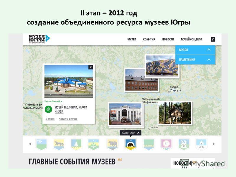 II этап – 2012 год создание объединенного ресурса музеев Югры
