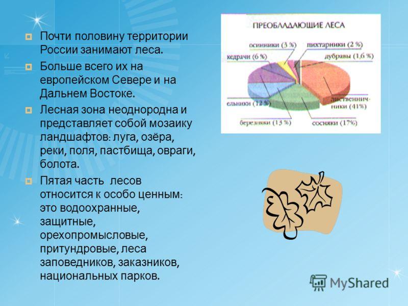 Почти половину территории России занимают леса. Больше всего их на европейском Севере и на Дальнем Востоке. Лесная зона неоднородна и представляет собой мозаику ландшафтов : луга, озёра, реки, поля, пастбища, овраги, болота. Пятая часть лесов относит