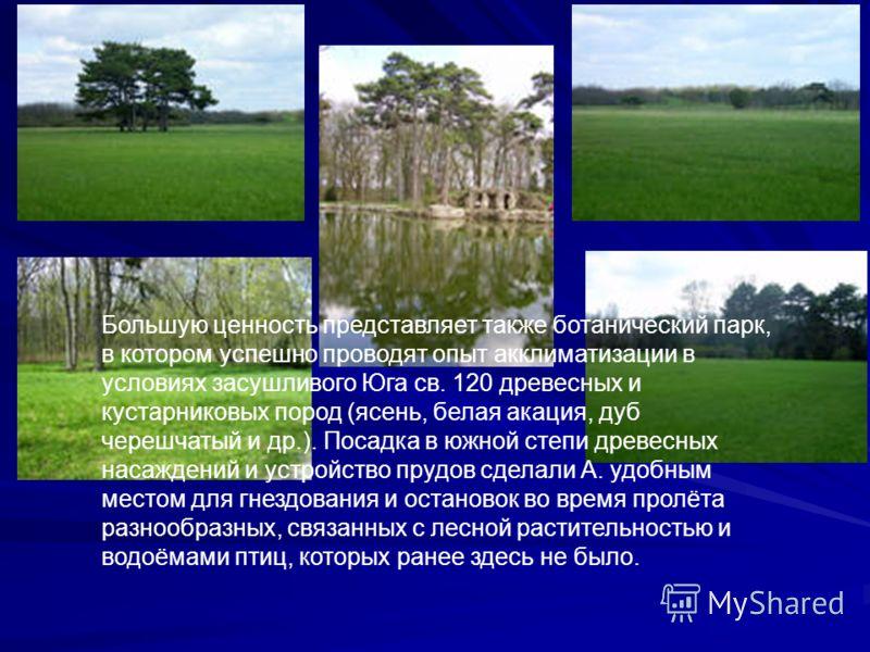 Большую ценность представляет также ботанический парк, в котором успешно проводят опыт акклиматизации в условиях засушливого Юга св. 120 древесных и кустарниковых пород (ясень, белая акация, дуб черешчатый и др.). Посадка в южной степи древесных наса