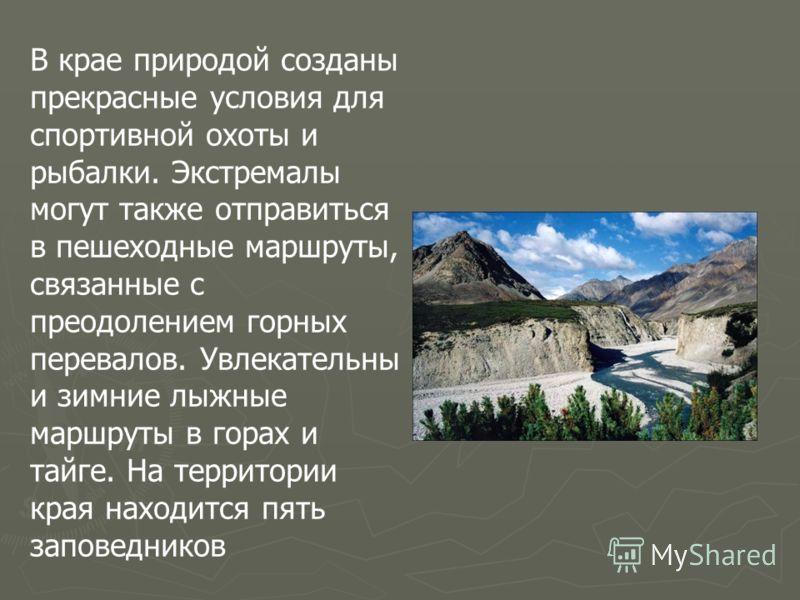 В крае природой созданы прекрасные условия для спортивной охоты и рыбалки. Экстремалы могут также отправиться в пешеходные маршруты, связанные с преодолением горных перевалов. Увлекательны и зимние лыжные маршруты в горах и тайге. На территории края