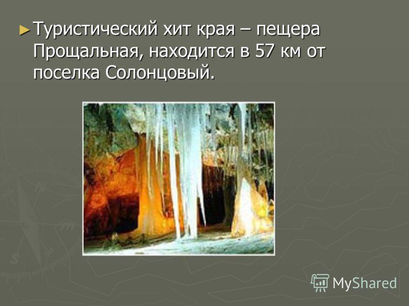 Туристический хит края – пещера Прощальная, находится в 57 км от поселка Солонцовый. Туристический хит края – пещера Прощальная, находится в 57 км от поселка Солонцовый.