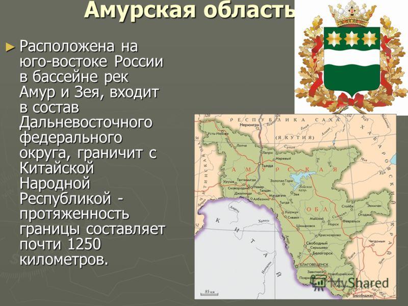 Амурская область Расположена на юго-востоке России в бассейне рек Амур и Зея, входит в состав Дальневосточного федерального округа, граничит с Китайской Народной Республикой - протяженность границы составляет почти 1250 километров. Расположена на юго